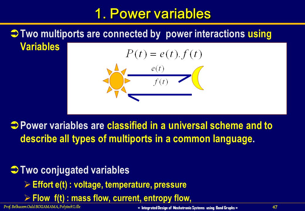 1. Power variables Two multiports are connected by power interactions using Variables.