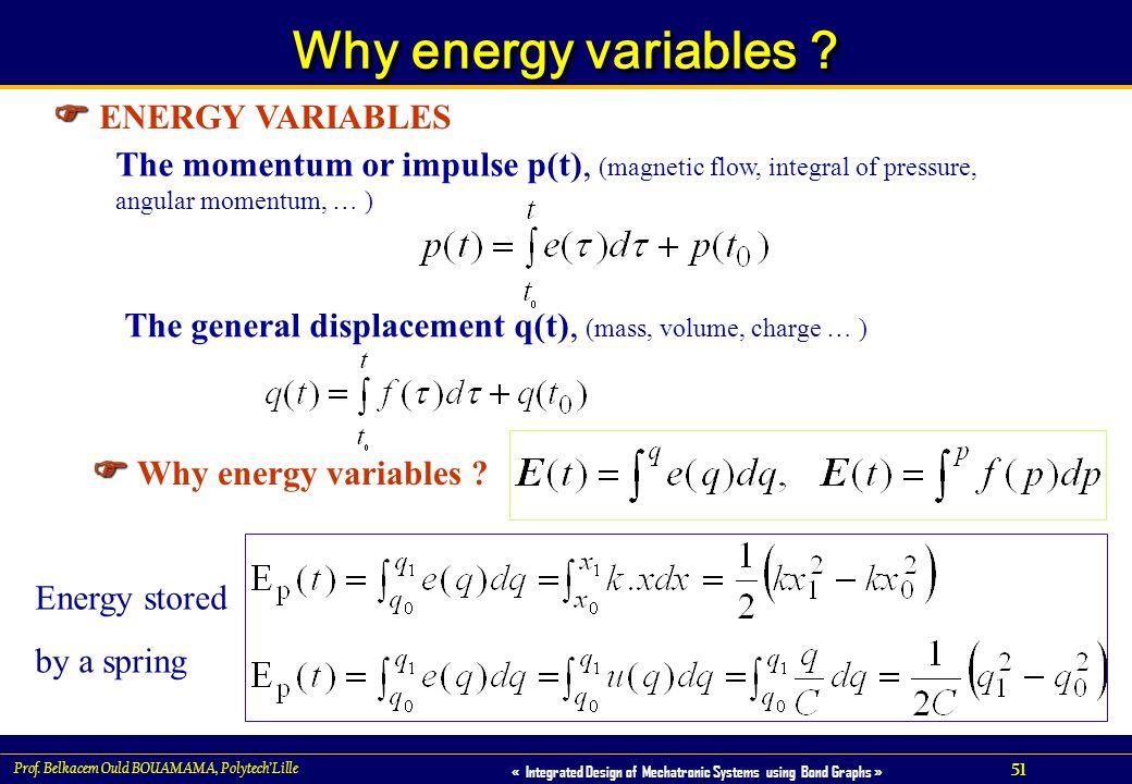 Why energy variables  ENERGY VARIABLES  Why energy variables