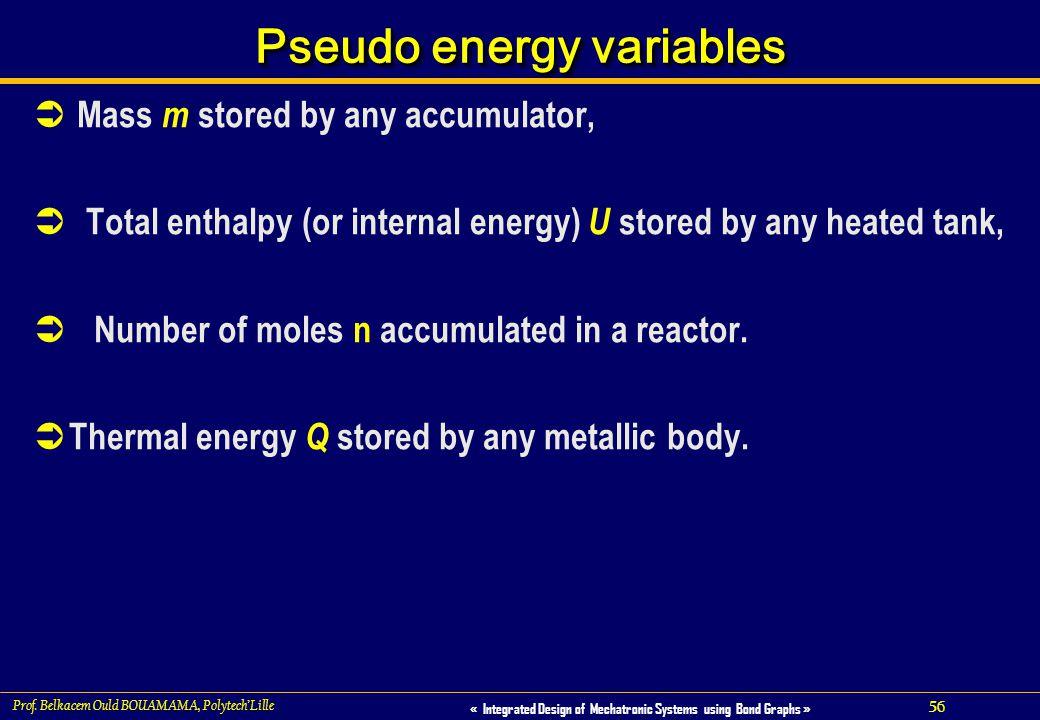 Pseudo energy variables