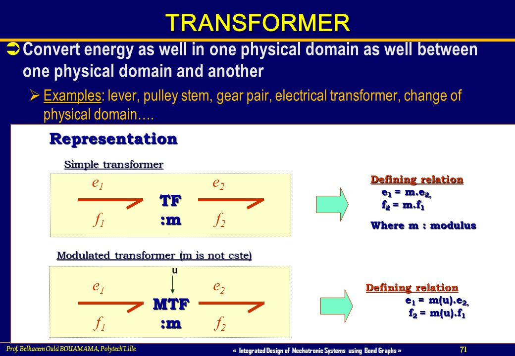 TRANSFORMER Convert energy as well in one physical domain as well between one physical domain and another.