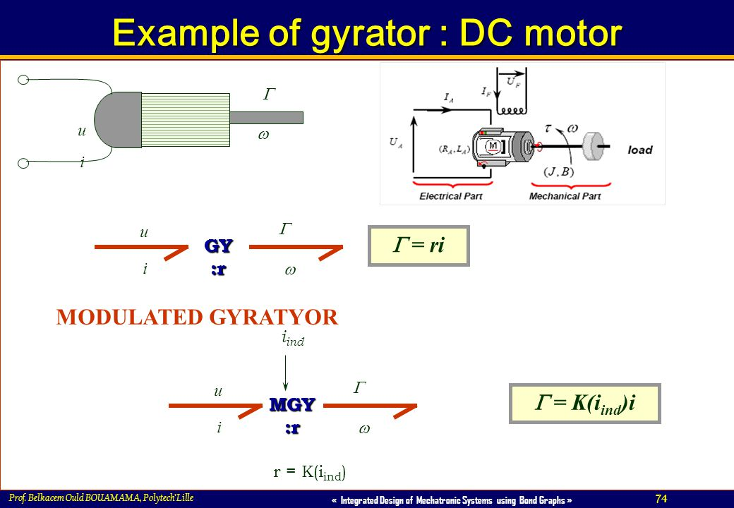 Example of gyrator : DC motor
