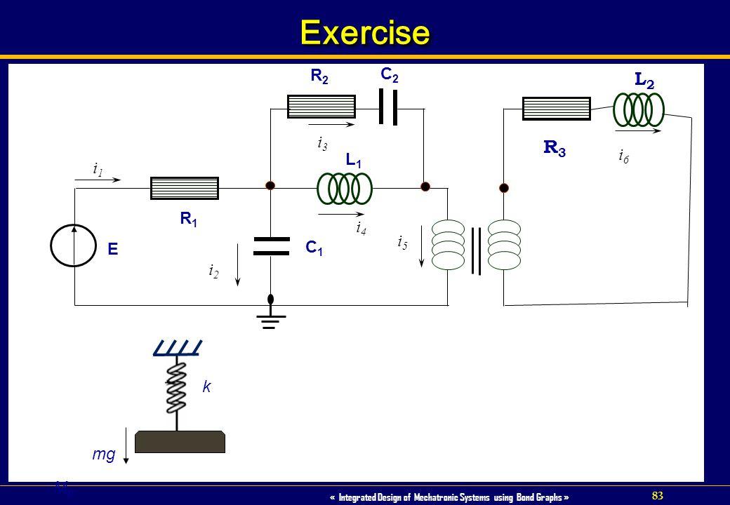 Exercise R2 C2 L2 i3 R3 L1 i6 i1 R1 i4 i5 E C1 i2 k mg Mp