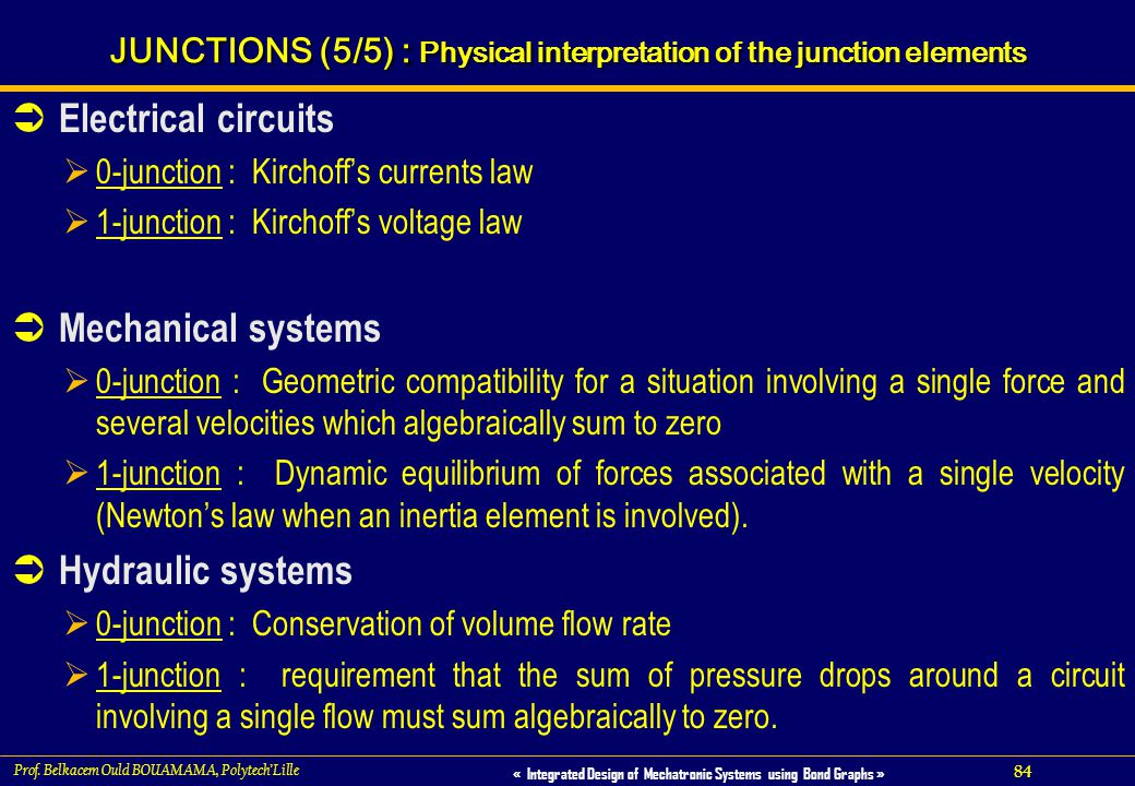 JUNCTIONS (5/5) : Physical interpretation of the junction elements
