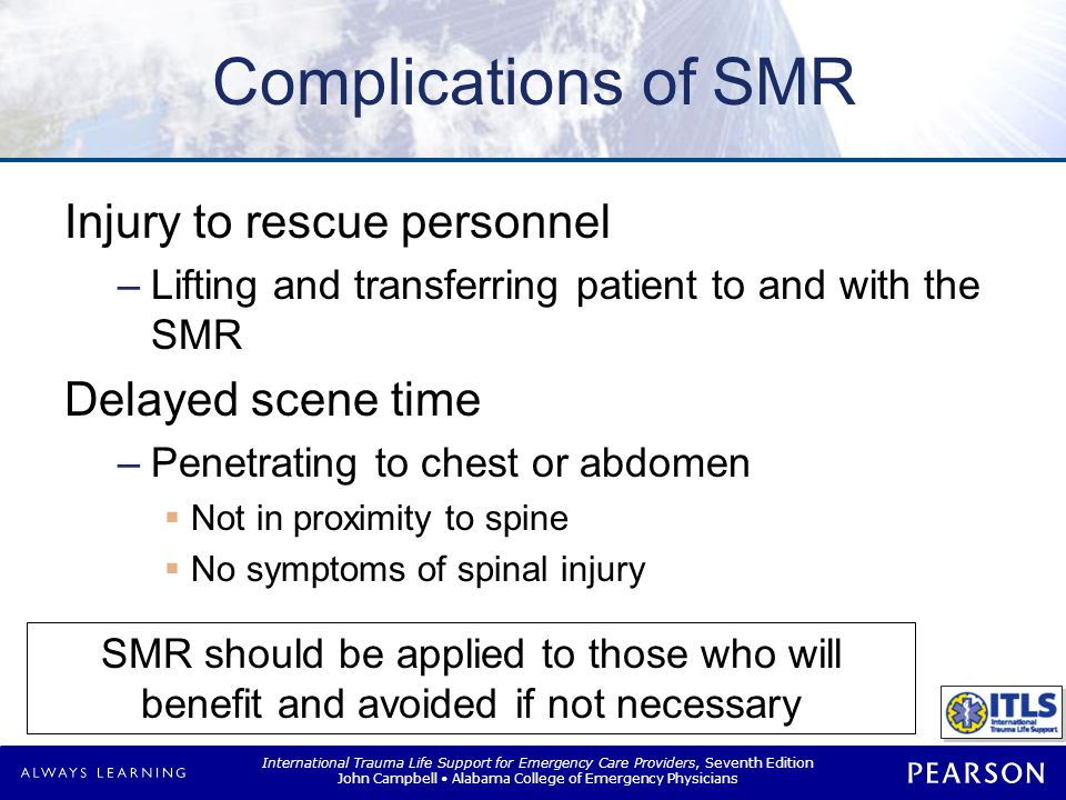 Controversy with SMR General belief SMR should be done until injury ruled out. Maine Protocol. No solid evidence (Class 1)