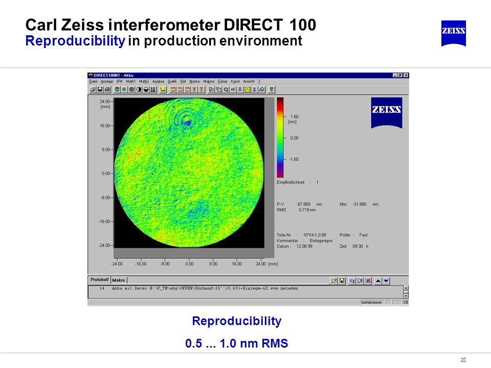 Carl Zeiss interferometer DIRECT 100 Reproducibility in production environment