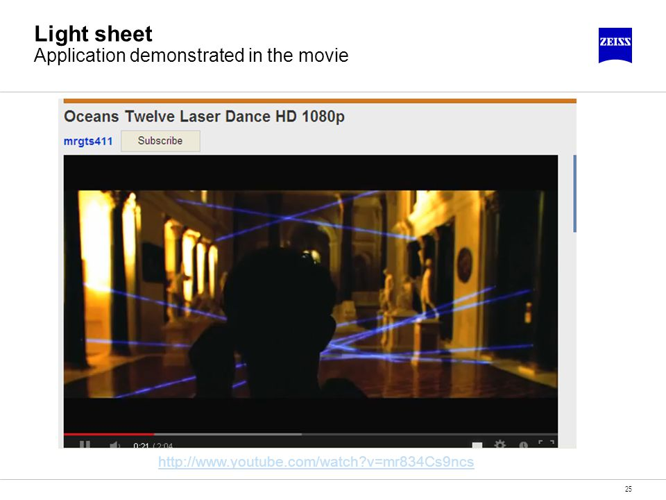 Light sheet Application demonstrated in the movie