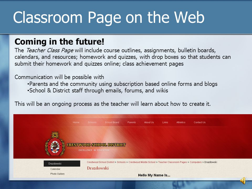 Classroom Page on the Web