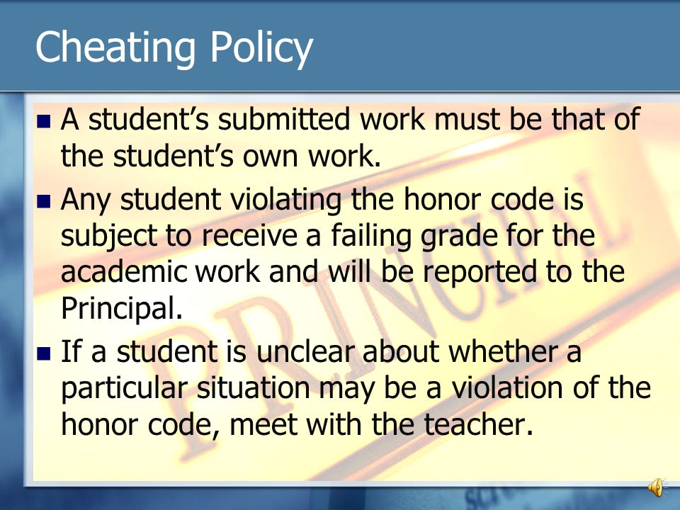 Cheating Policy A student's submitted work must be that of the student's own work.