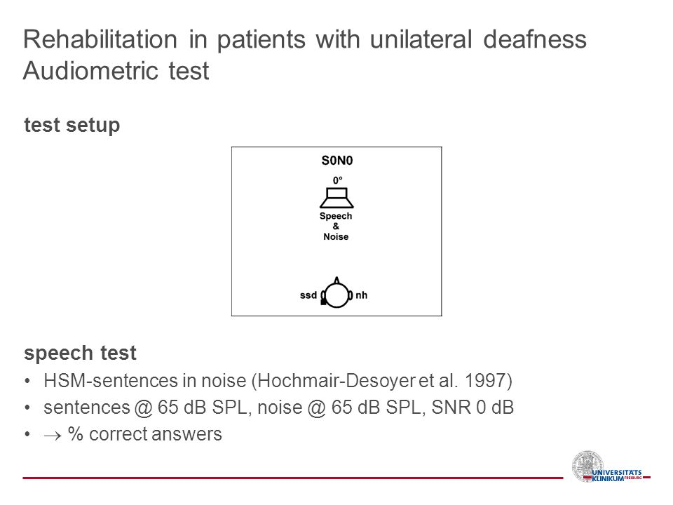 Rehabilitation in patients with unilateral deafness Audiometric test