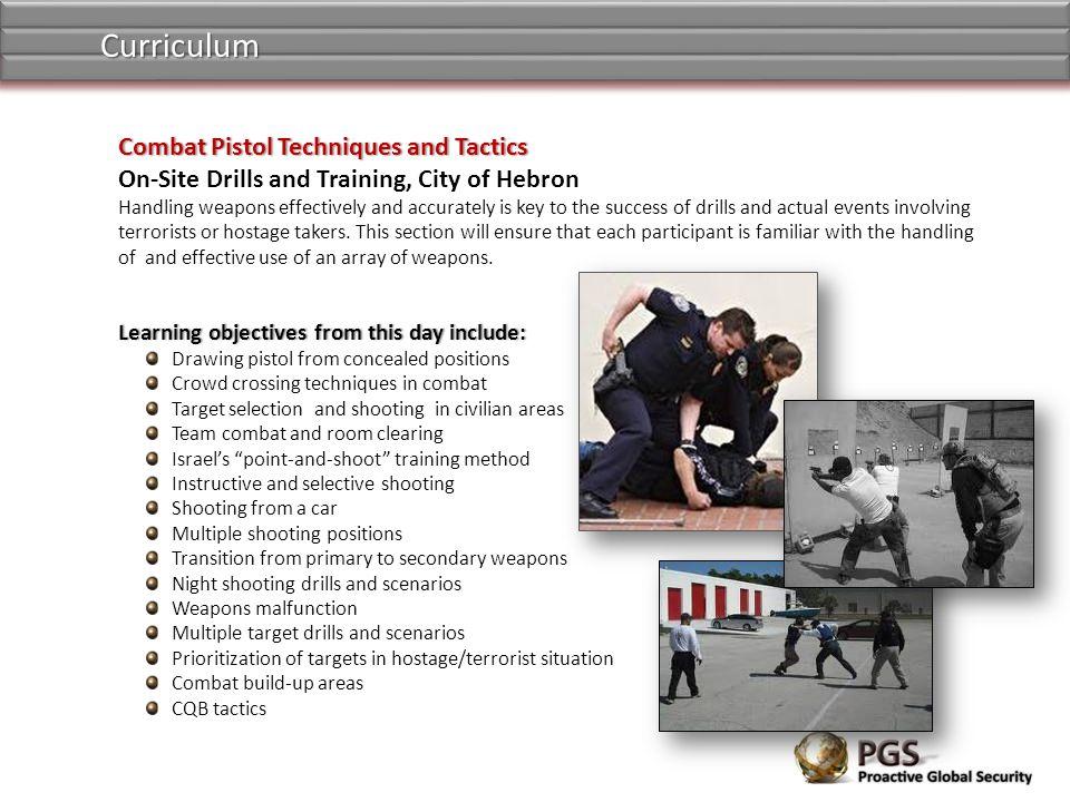 Curriculum Combat Pistol Techniques and Tactics