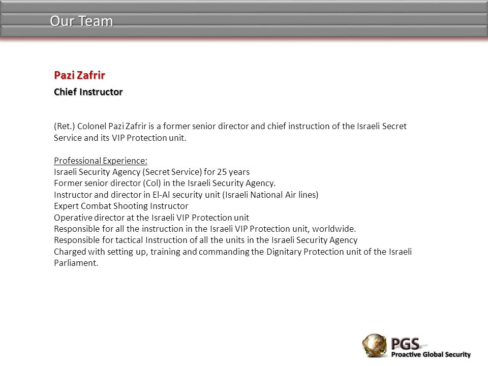 Our Team Pazi Zafrir Chief Instructor