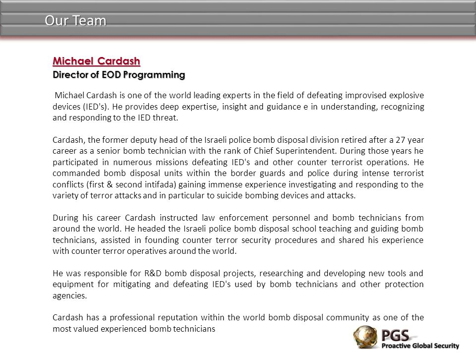 Our Team Michael Cardash Director of EOD Programming