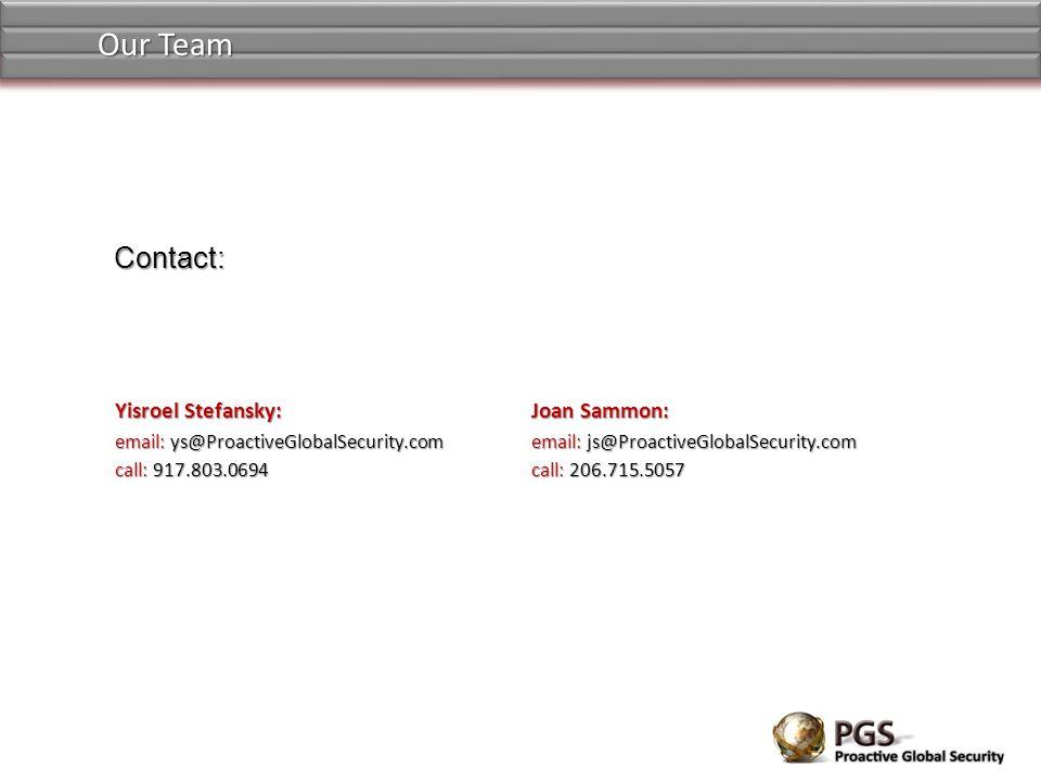 Our Team Contact: Yisroel Stefansky: Joan Sammon: