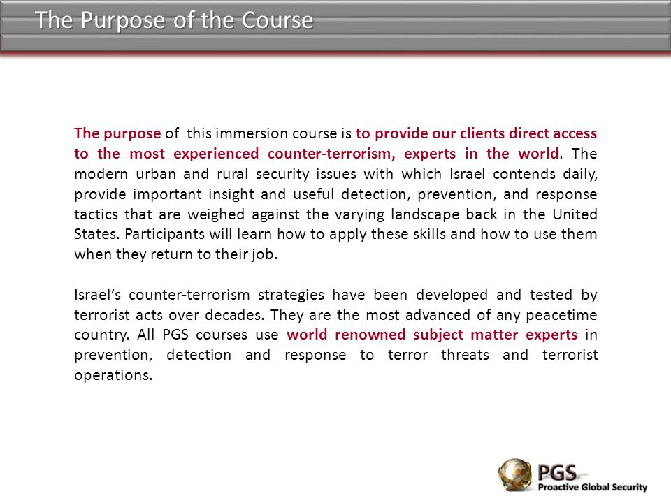 The Purpose of the Course