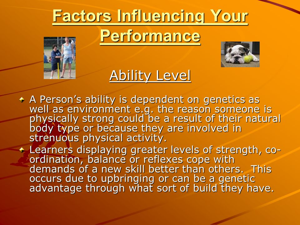 Factors Influencing Your Performance