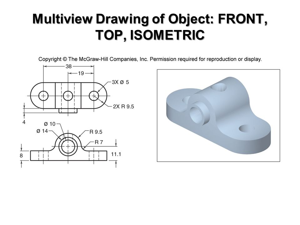 Multiview Drawing of Object: FRONT, TOP, ISOMETRIC