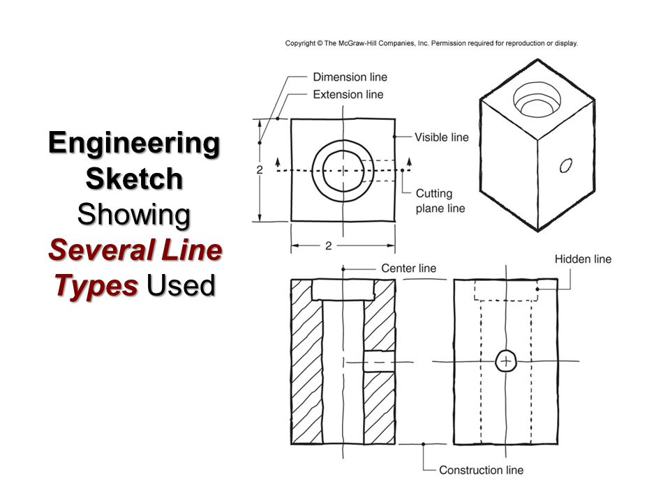 Engineering Sketch Showing Several Line Types Used
