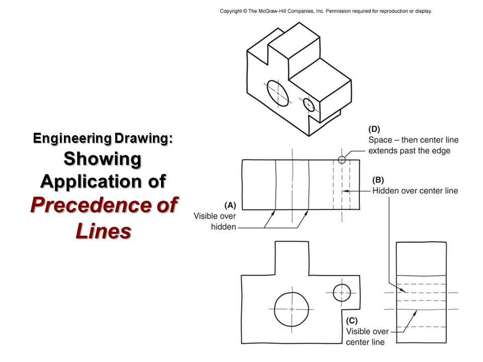 Engineering Drawing: Showing Application of Precedence of Lines