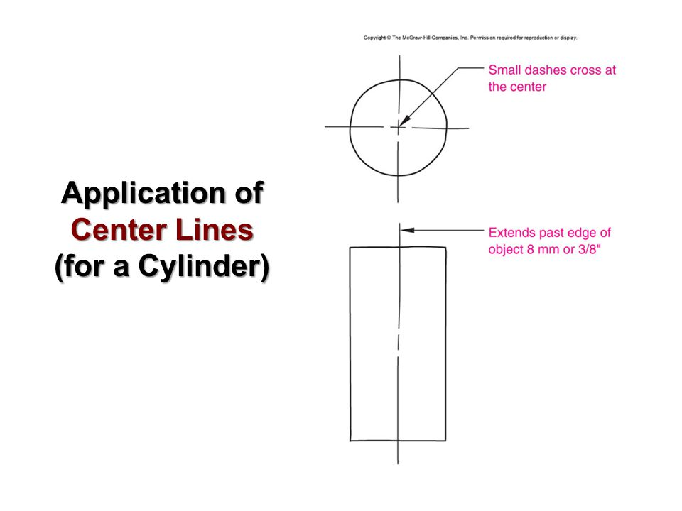 Application of Center Lines (for a Cylinder)