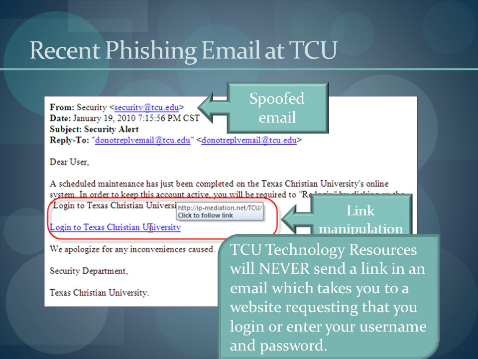 Recent Phishing Email at TCU