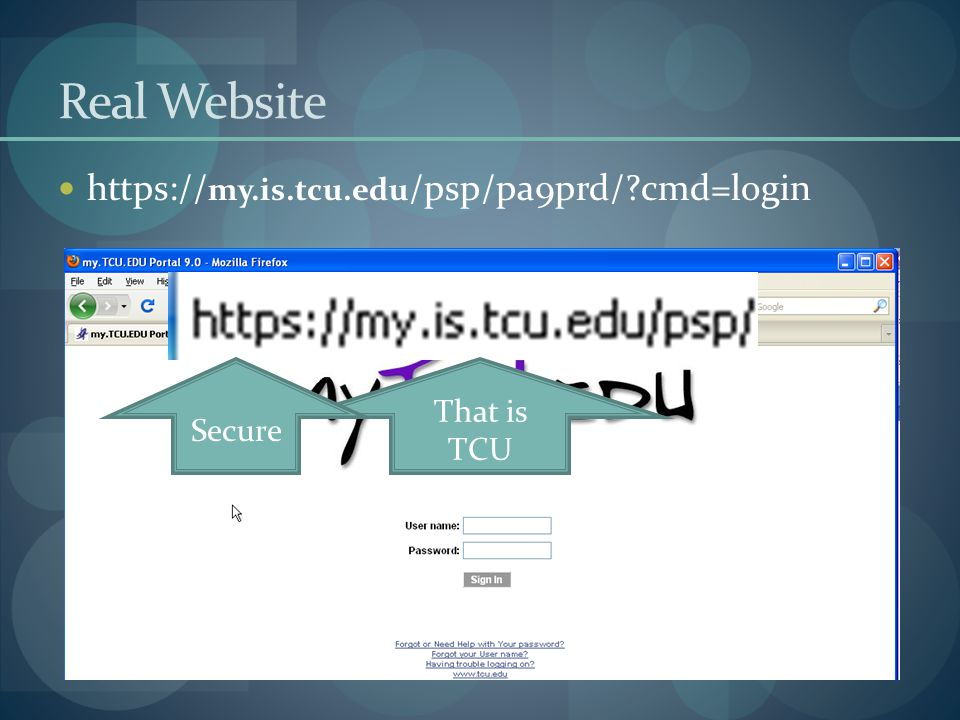Real Website https://my.is.tcu.edu/psp/pa9prd/ cmd=login That is TCU