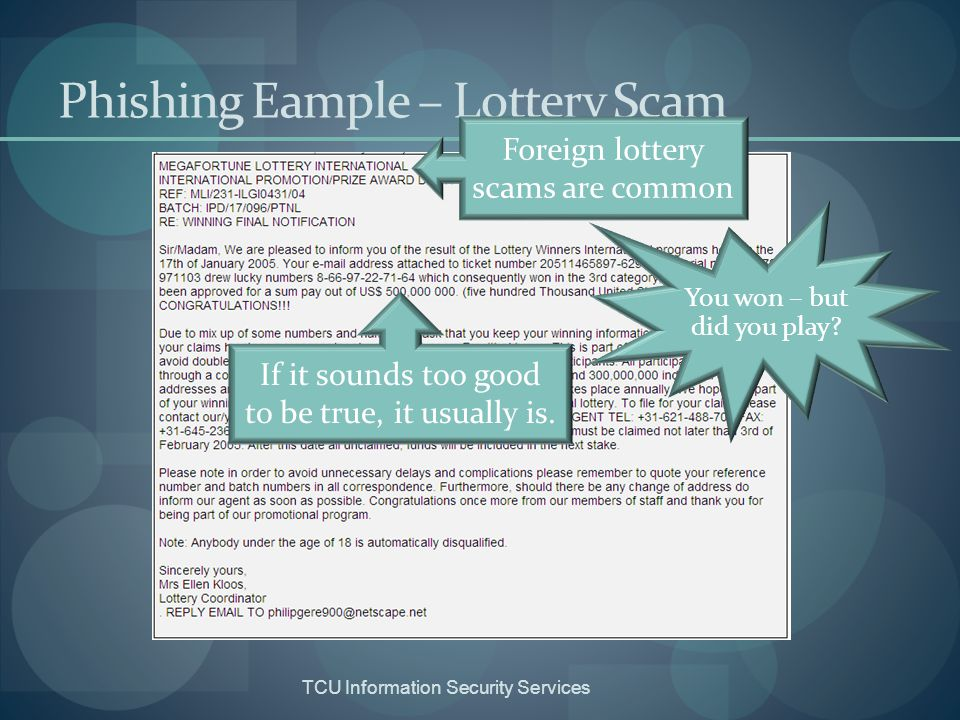 Phishing Eample – Lottery Scam