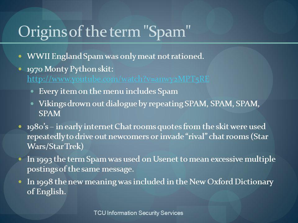 Origins of the term Spam