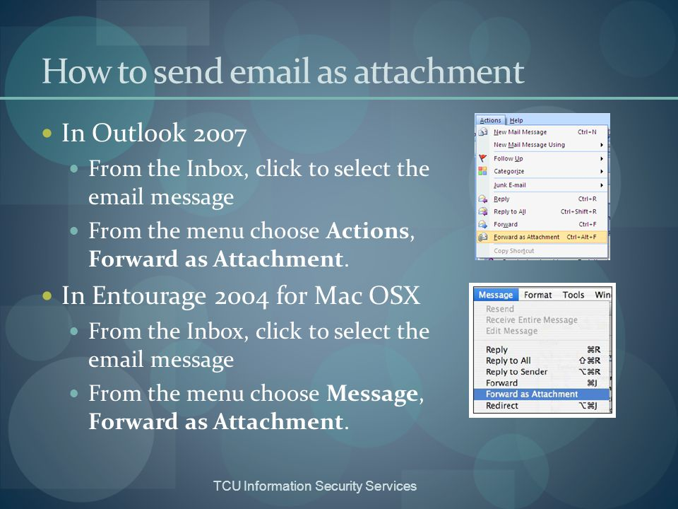 How to send email as attachment