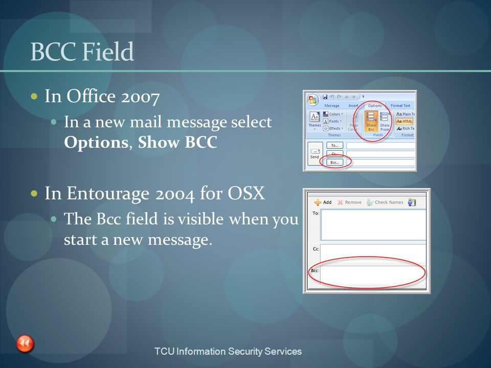 BCC Field In Office 2007 In Entourage 2004 for OSX