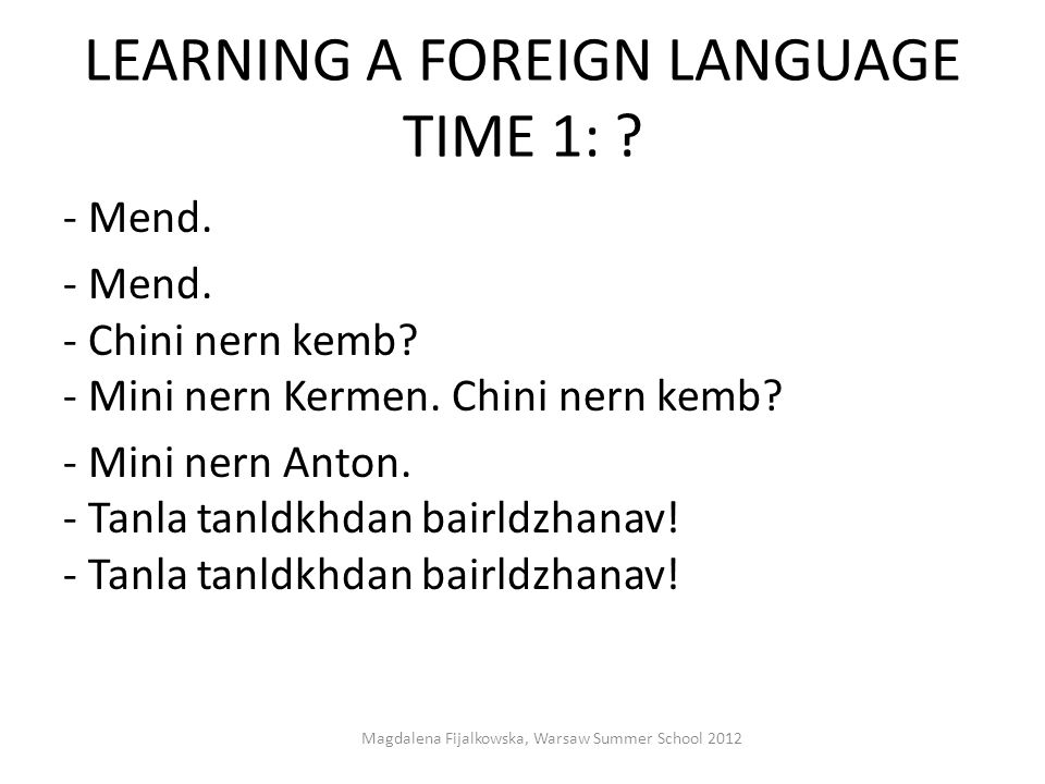 LEARNING A FOREIGN LANGUAGE TIME 1: