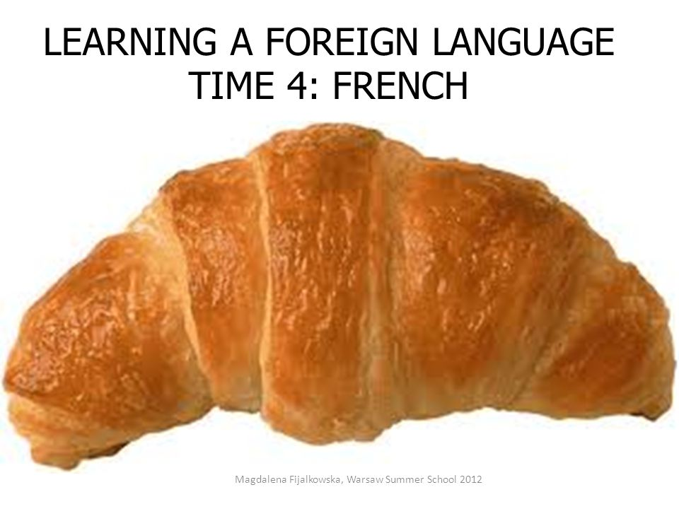 LEARNING A FOREIGN LANGUAGE TIME 4: FRENCH