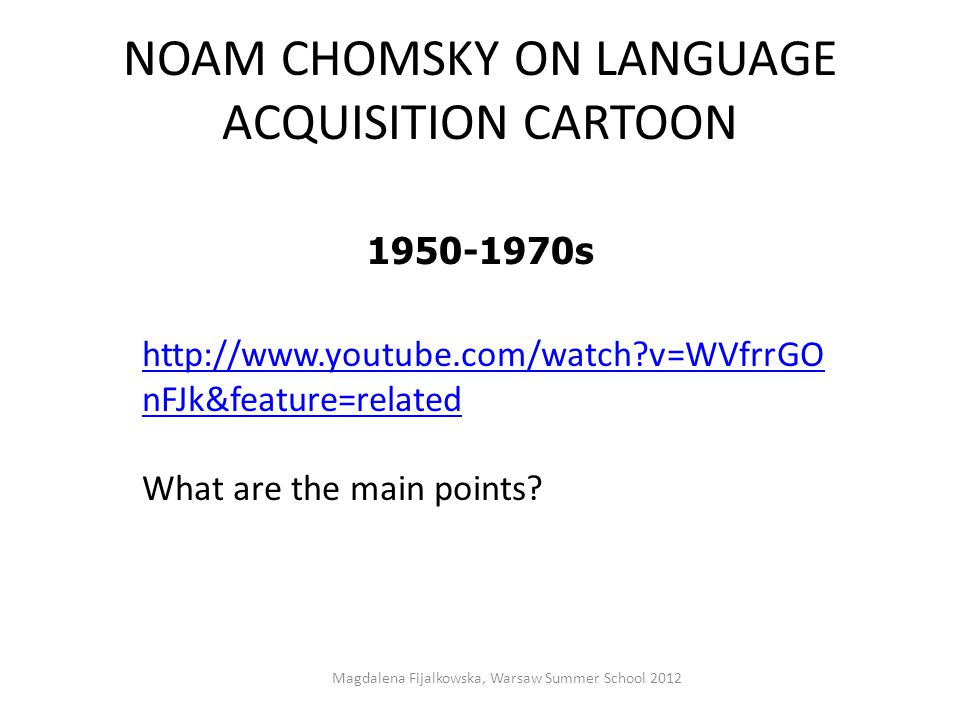 NOAM CHOMSKY ON LANGUAGE ACQUISITION CARTOON