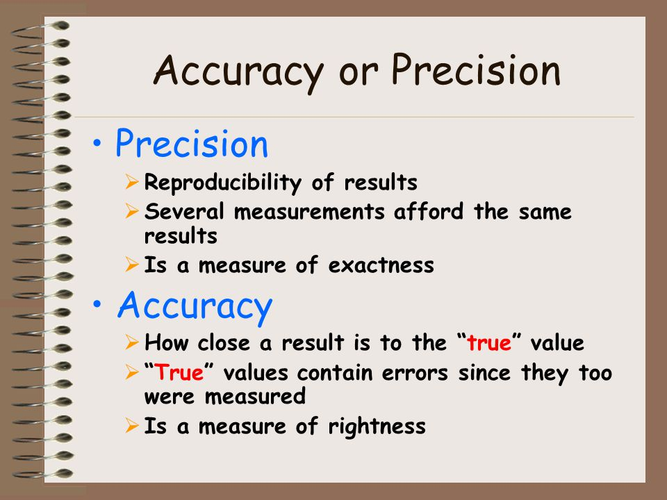 Accuracy or Precision Precision Accuracy Reproducibility of results