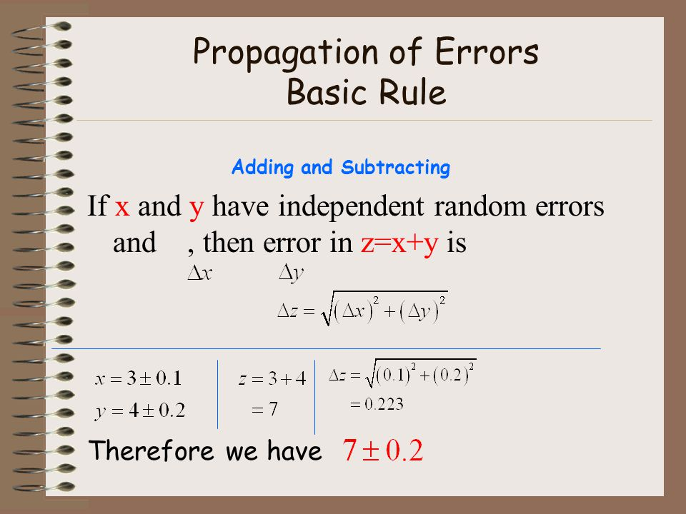 Propagation of Errors Basic Rule