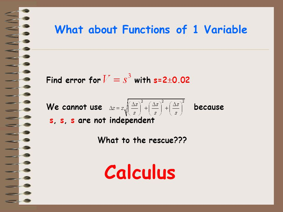 What about Functions of 1 Variable