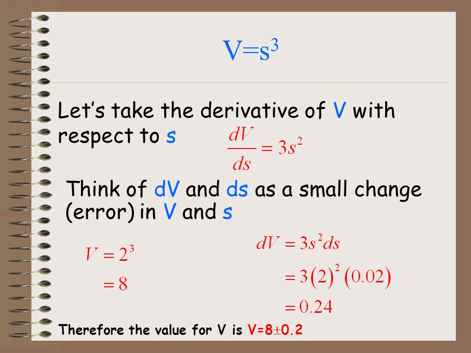 V=s3 Let's take the derivative of V with respect to s