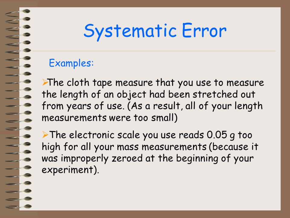 Systematic Error Examples: