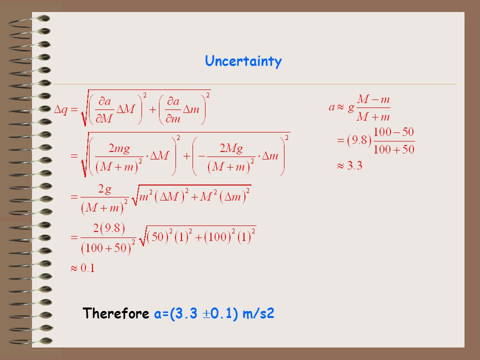 Uncertainty Therefore a=(3.3 0.1) m/s2