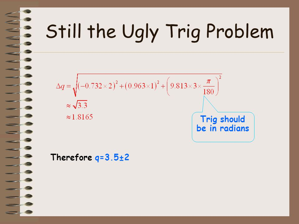 Still the Ugly Trig Problem
