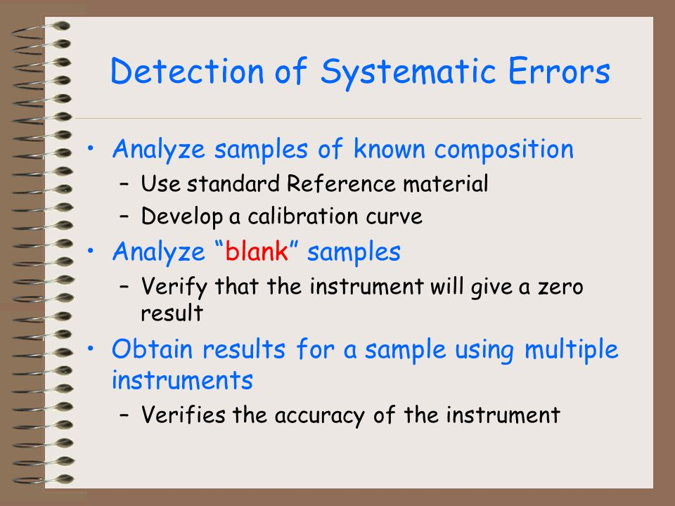 Detection of Systematic Errors