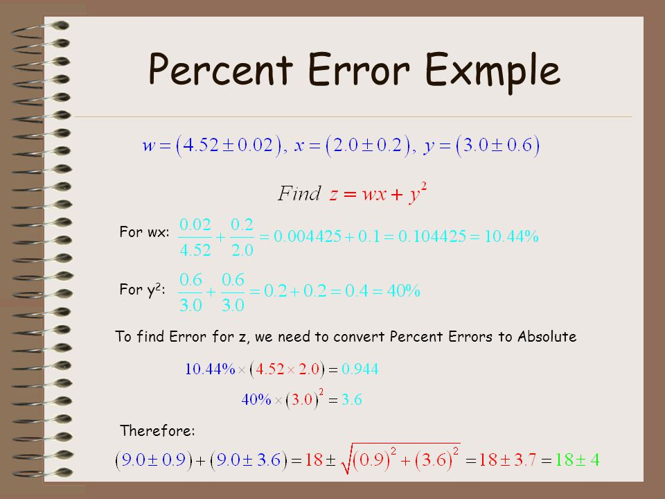 Percent Error Exmple For wx: For y2: