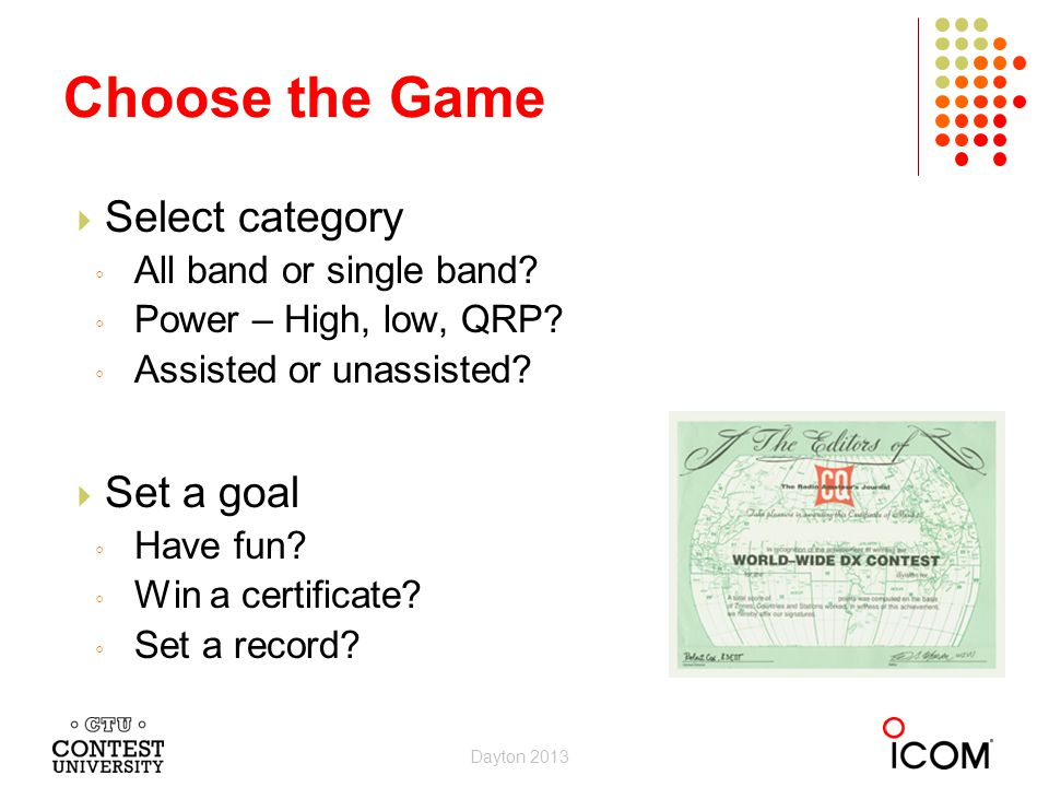 Choose the Game Select category Set a goal All band or single band