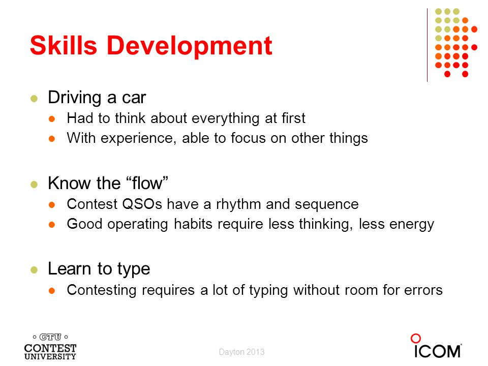 Skills Development Driving a car Know the flow Learn to type