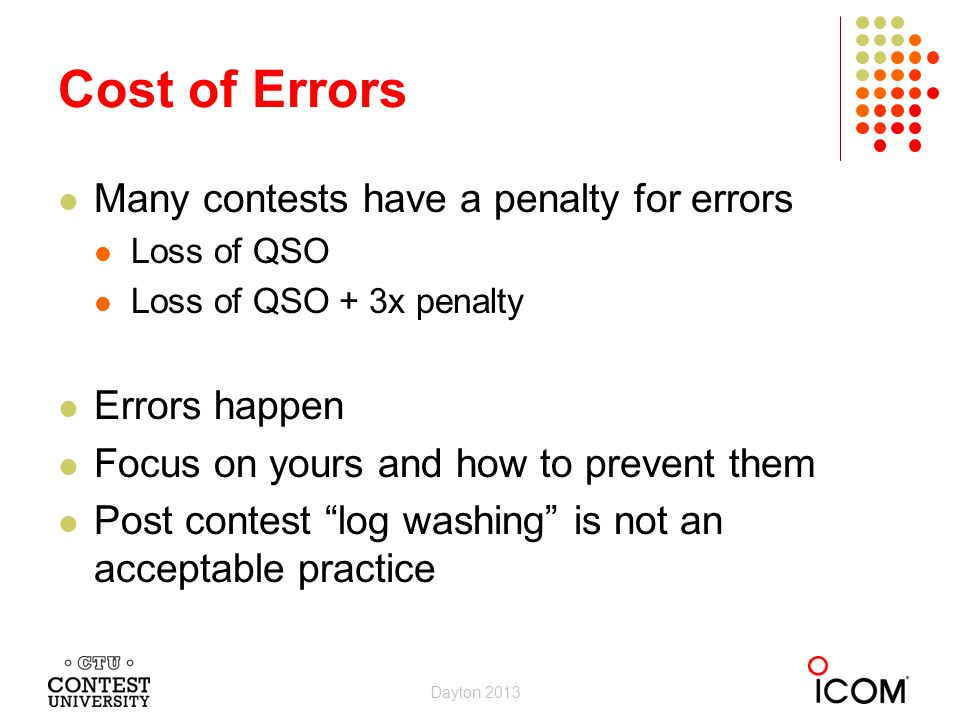Cost of Errors Many contests have a penalty for errors Errors happen