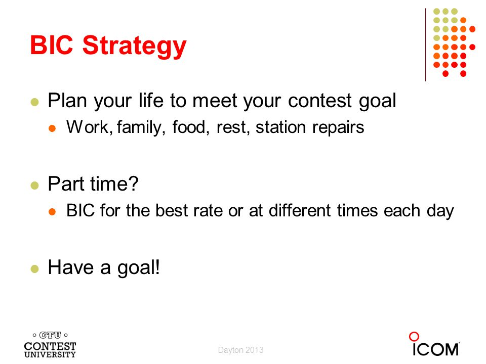 BIC Strategy Plan your life to meet your contest goal Part time