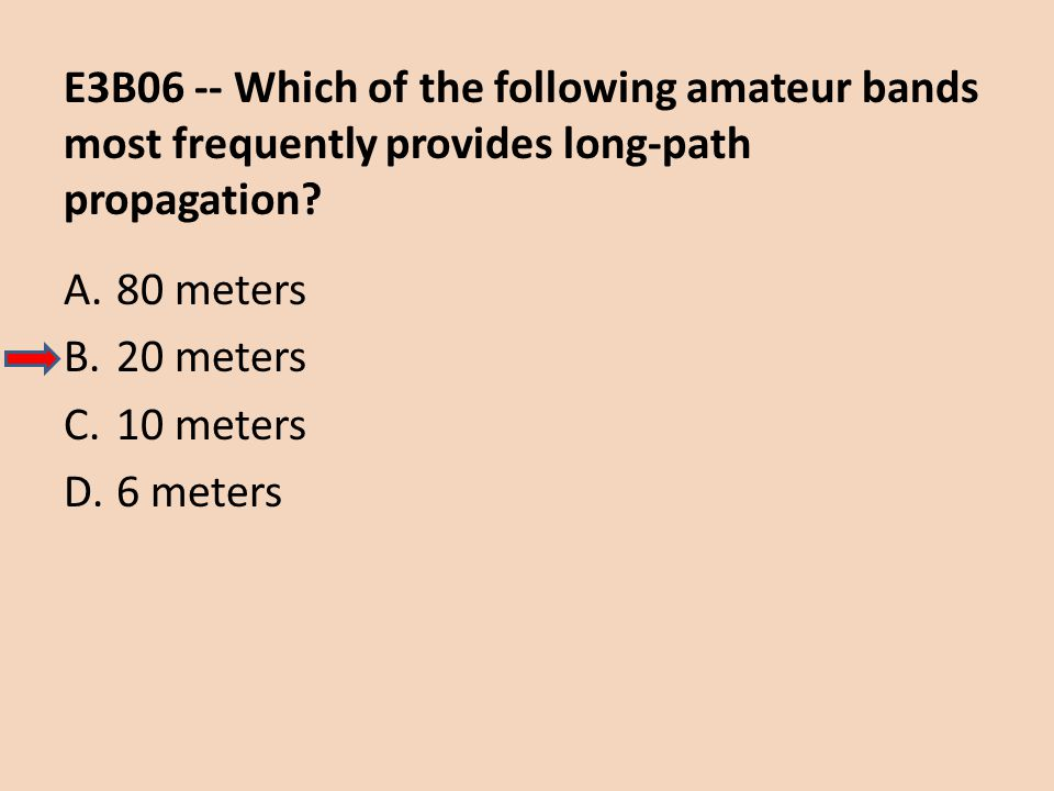E3B06 -- Which of the following amateur bands most frequently provides long-path propagation