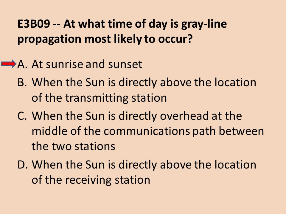 E3B09 -- At what time of day is gray-line propagation most likely to occur