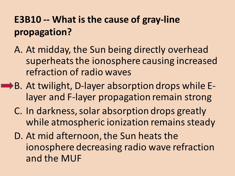 E3B10 -- What is the cause of gray-line propagation