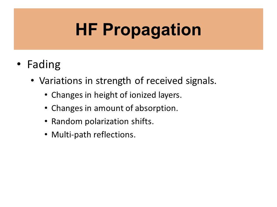 HF Propagation Fading Variations in strength of received signals.
