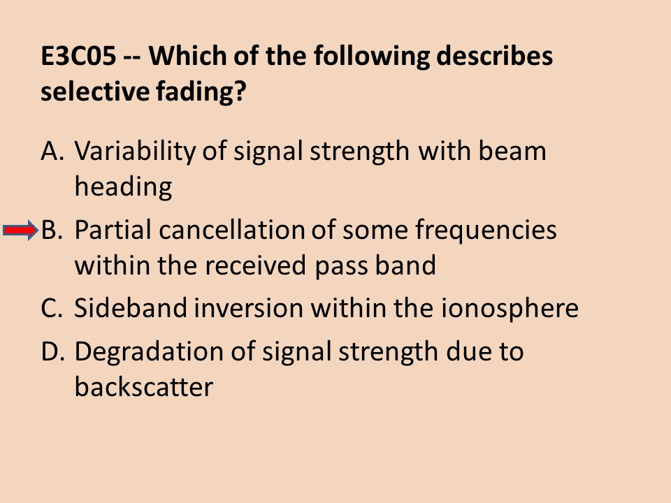 E3C05 -- Which of the following describes selective fading